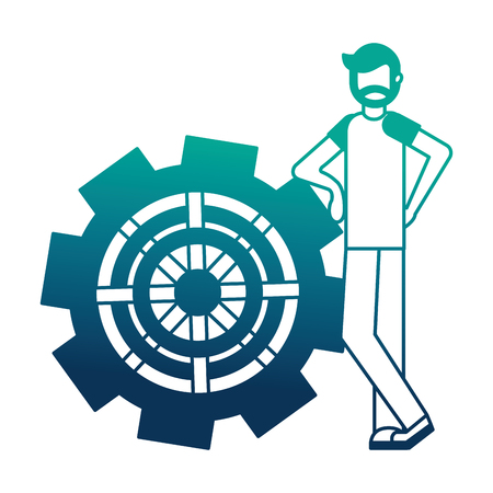 young man with gear machine isolated icon vector illustration design Ilustrace