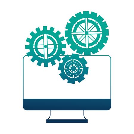 monitor computer with set gears machine vector illustration design Ilustração