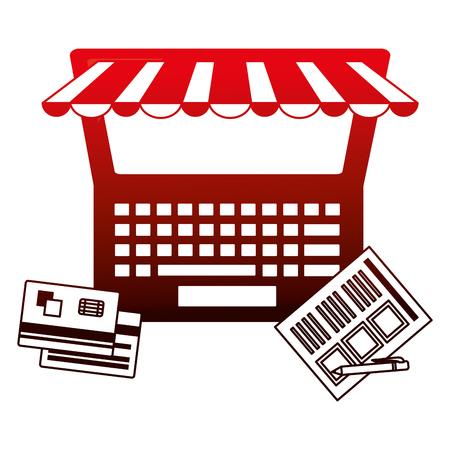 laptop bank credit cards online shopping vector illustration