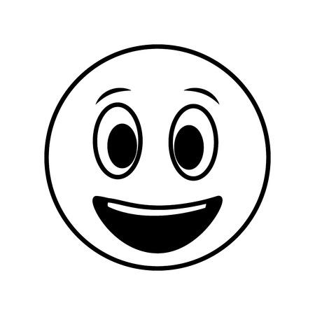 Ilustración de vector de emoticon feliz sonriente grande en blanco y negro