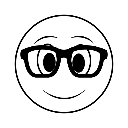 big smiley emoticon wearing glasses vector illustration black and white