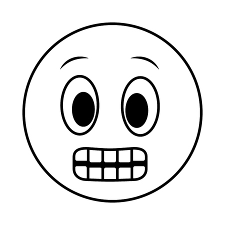 big smiley emoji grinning face vector illustration black and white Standard-Bild - 112067642