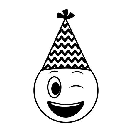 Cara de cumpleaños guiño emoji gorro de fiesta ilustración vectorial