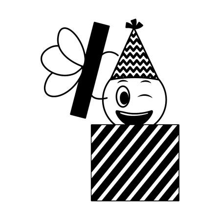 birthday face emoticon in gift box celebration vector illustration