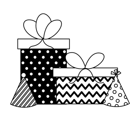 Birthday Gift Boxes And Party Hats Celebration Vector Illustration