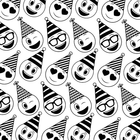 birthday face emoticon party hat pattern vector illustration