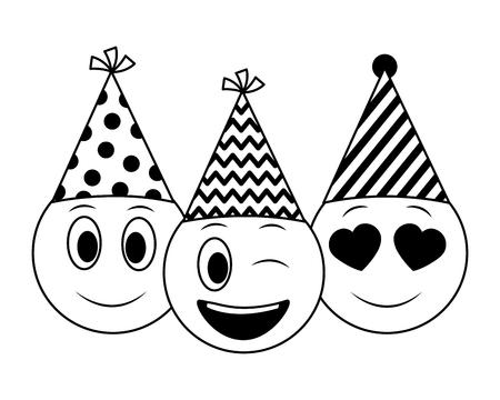 Emojis de cara de cumpleaños celebrando con ilustración de vector de sombrero de fiesta Ilustración de vector