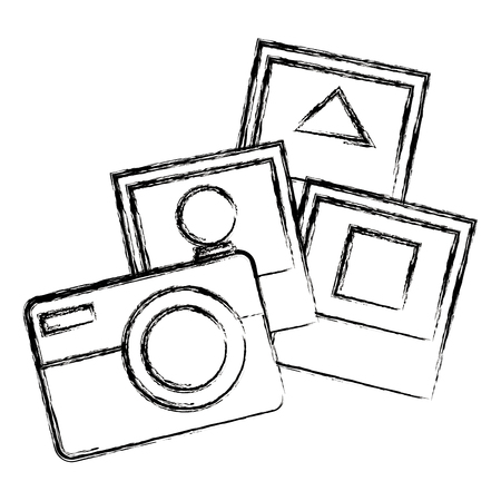 camera photographic with pictures vector illustration design Çizim