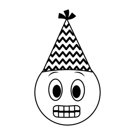 birthday emoji grinning face party hat vector illustration Illustration