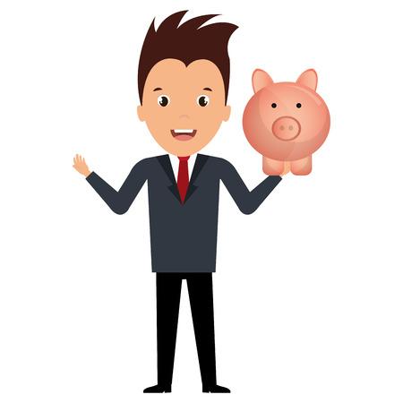 businessman with piggy savings vector illustration design Illustration
