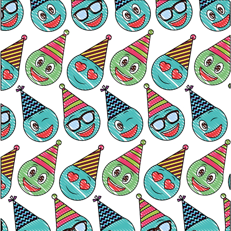 birthday face emoticon party hat pattern drawing vector illustration Illustration