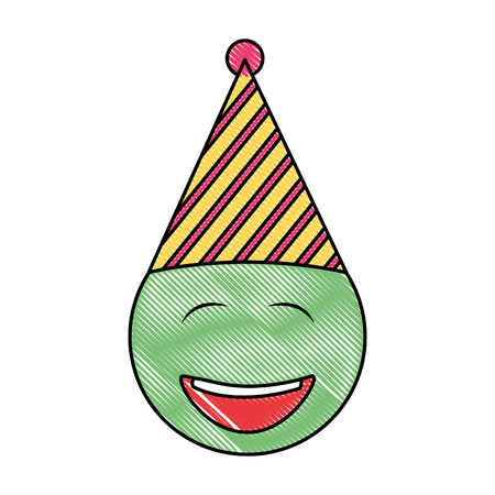 birthday face closed eyes emoji party hat drawing vector illustration