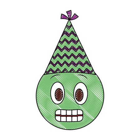 birthday emoji grinning face party hat drawing vector illustration