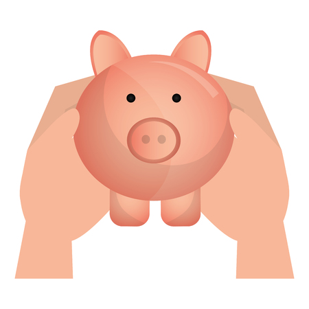 hands with piggy savings vector illustration design Illustration