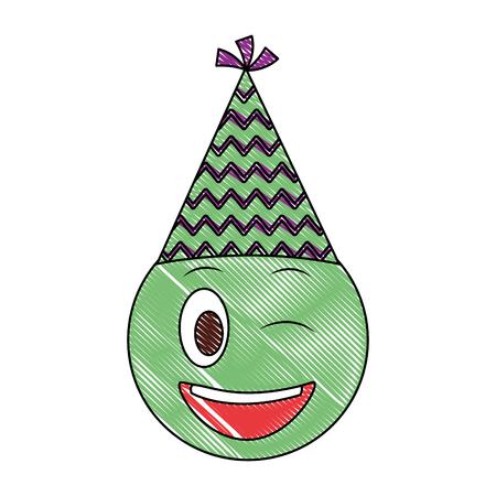 birthday face winking emoji party hat drawing vector illustration