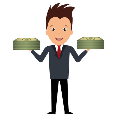 businessman with bills dollars vector illustration design