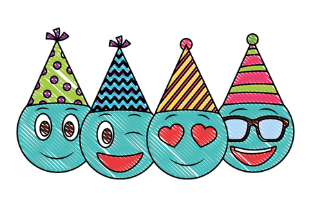 birthday face emojis celebrating with party hat drawing vector illustration
