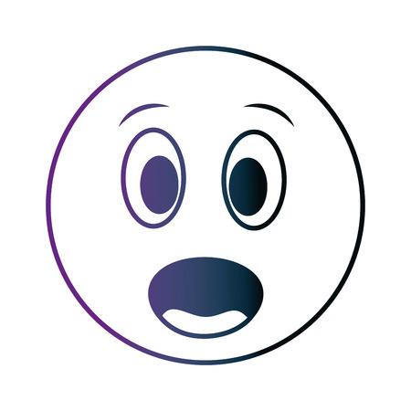 grande smiley sorpreso emoticon neon design illustrazione vettoriale Vettoriali