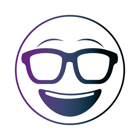 big smiley emoticon with sunglasses neon design vector illustration