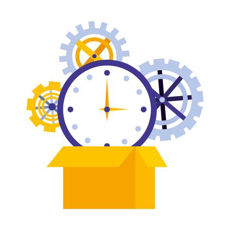 impostare la macchina degli ingranaggi con la scatola di cartone e il tempo di visualizzazione dell'illustrazione vettoriale design