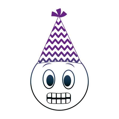 birthday emoji grinning face party hat vector illustration neon