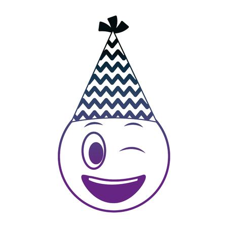 birthday face winking emoji party hat vector illustration neon