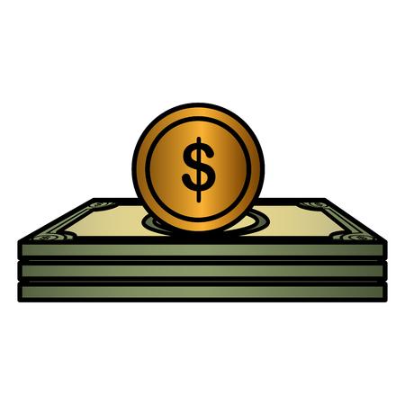 coins money with bills vector illustration design 写真素材 - 112070360
