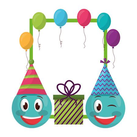 emoji kawaii with gift box present and balloons helium vector illustration design