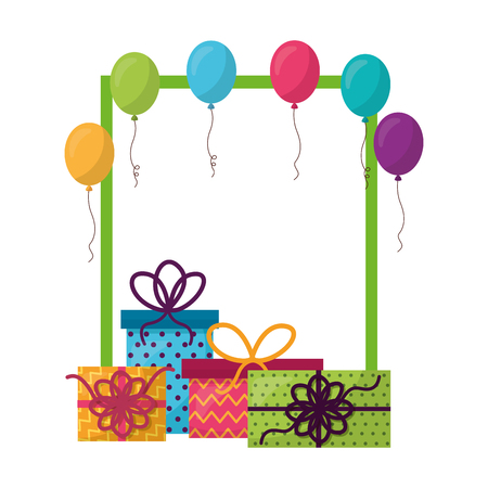 frame with gift boxes present and balloons helium vector illustration design