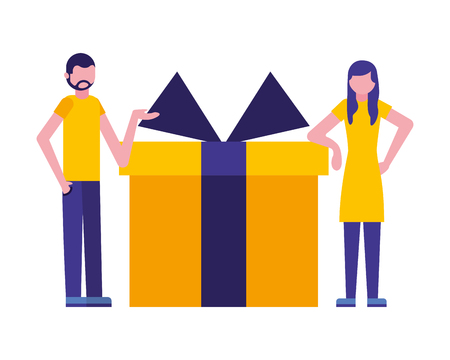 people with gift box present icon vector illustration design