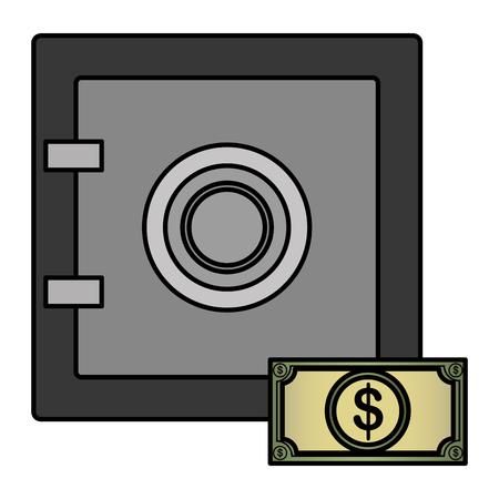 safe box with bill dollar vector illustration design Ilustração