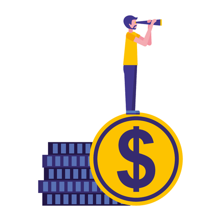 young man with coin dollar and telescope vector illustration design