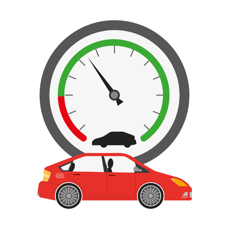 speed gauge with car isolated icon vector illustration design