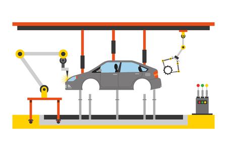 car assembling machine icon Illustration