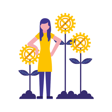 woman with gears flowers vector illustration design Foto de archivo - 112070388