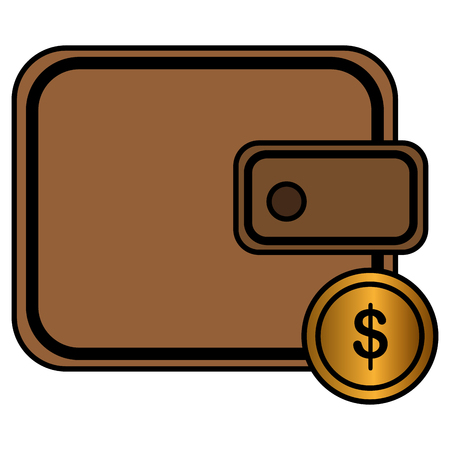 wallet with coins money vector illustration design