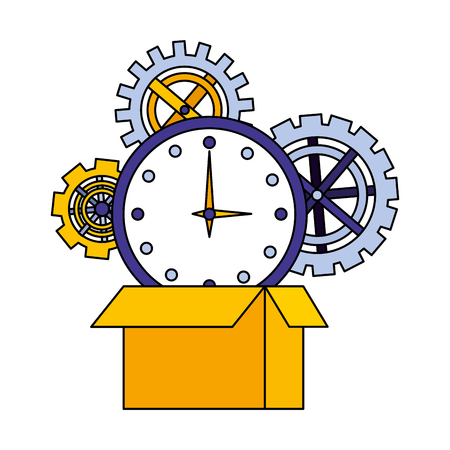 set gears machine with box carton and watch time vector illustration design