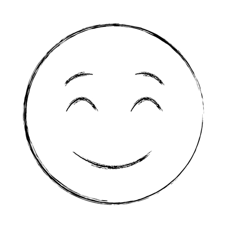 smiley face happy closed eyes emoji vector illustration hand drawing  イラスト・ベクター素材