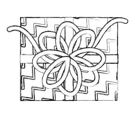 top view birthday gift box bow decoration vector illustration hand drawing