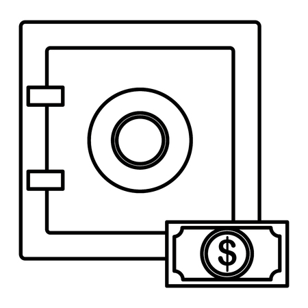 safe box with bill dollar vector illustration design Çizim