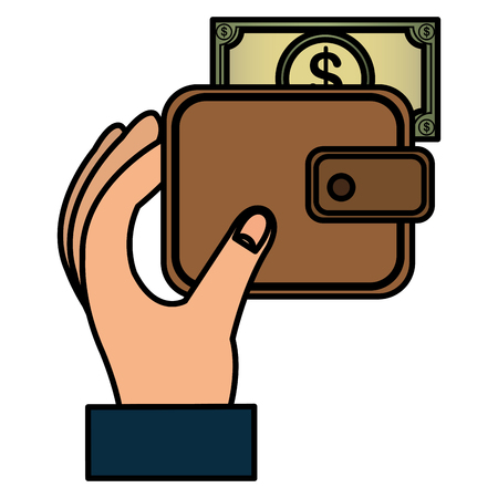 Hand mit Brieftasche und Rechnungen Dollar Vektor-Illustration Design