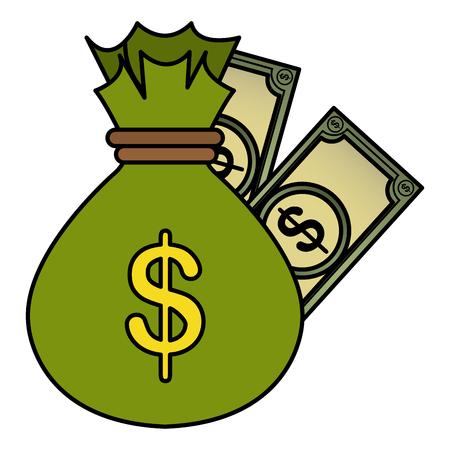 money bag with bills dollars vector illustration design  イラスト・ベクター素材