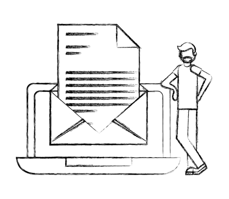 beard man laptop and email message business vector illustration hand drawing