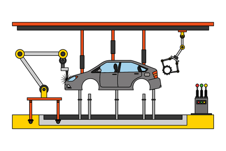 car assembling machine icon Ilustrace