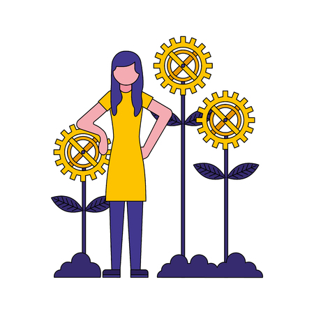 woman with gears flowers vector illustration design