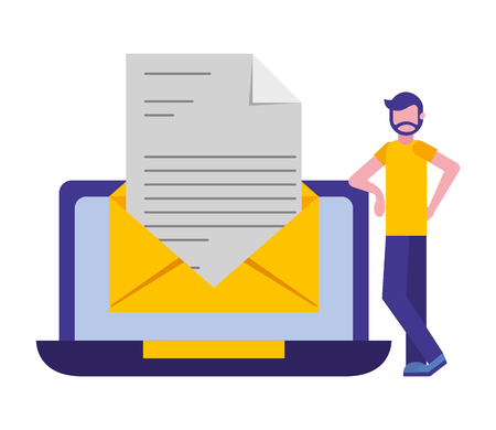man with laptop computer and envelope vector illustration design