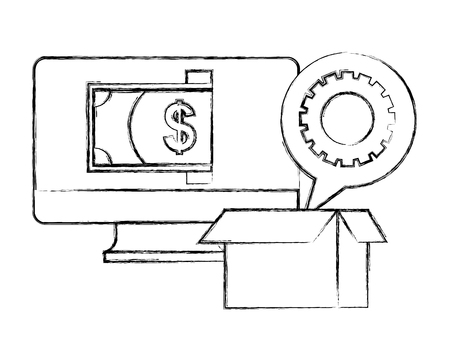 computer money cardboard box gear work vector illustration hand drawing