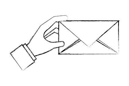 hand holding envelope message mail vector illustration hand drawing