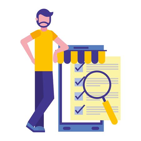 man with smartphone and objects vector illustration design Ilustração