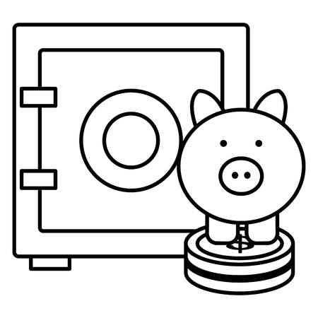 piggy savings with coins and safe box vector illustration design Illustration